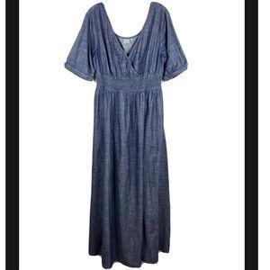 eShakti Chambray Short Sleeve Maxi Dress
